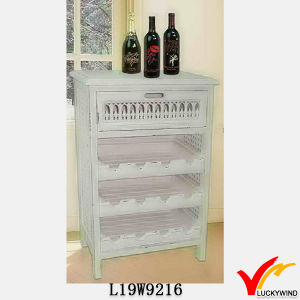Shabby White Kitchen Rack Design Wine Cabinet Wood pictures & photos