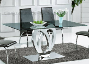 Modern Stainless Steel Furniture Black Glass Table (A2712) pictures & photos