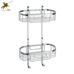Double Shelf Stainless Steel Bathroom Basket with Hooks (8813) pictures & photos