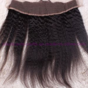 8A Grade 13X4 Mongolian Kinky Straight Lace Frontal Closure Bleached Knots, Free 3 Part Kinky Straight Frontal pictures & photos