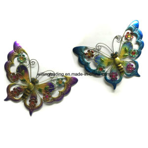 Hot Metal Butterfly W. Glass Wall Plaque Garden Decoration