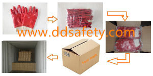 Ddsafety 2017 Red PVC Smooth Finished Cotton Liner Woking Glove pictures & photos