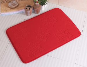 Red Christmas Snowflake Embossed Memory Foam Non-Slip Bathroom Bath Mat pictures & photos