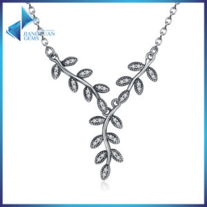 925 Sterling Silver Sparkling Leaves Long Pendant Necklace, Clear CZ Women Pendants Necklaces Jewelry pictures & photos