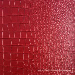 Hot Black Red Gold PVC Faux Crocodile Leather Vinyl pictures & photos