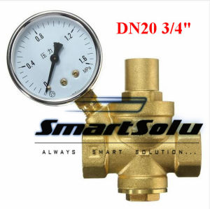 "Brass Dn20 3/4"" Water Pressure Regulator Valves with Pressure Gauge pictures & photos"