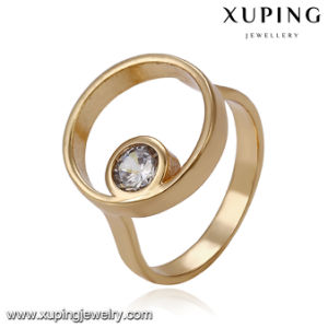 14165 Fashion Jewelry Circle Single Stone Gold Ring in Copper Alloy pictures & photos