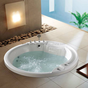 Round Embedded Massage Acrylic Bathtub with Water Channel (K1709) pictures & photos