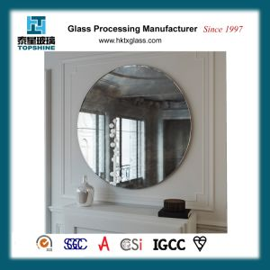 America Hot Sale Simple Designed Decorative Framless Round Wall Mounted Silver Mirror for Bathroom Supplies pictures & photos