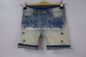 Light Blue Printed Denim Shorts (JF-K-07) pictures & photos