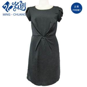 Black Short-Sleeve Round Collar Rear-Zipper Ladies Daily Dress pictures & photos