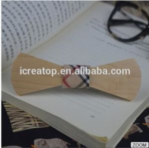 Cheaper Price Natural Different Wood Materia Sharp Large Arc Side Slide Wood Bowtie with Engraved Logo