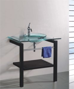 Solid Wood Bracket Glass Wash Basin (7046) pictures & photos