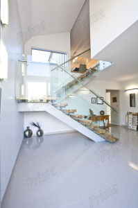 Contemporary Solid Wood Used Floating Staircase Design with Glass Railing pictures & photos