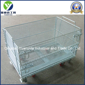 Warehosue Wheeled Zinc Plated Wire Mesh Pallet Cages Containers pictures & photos