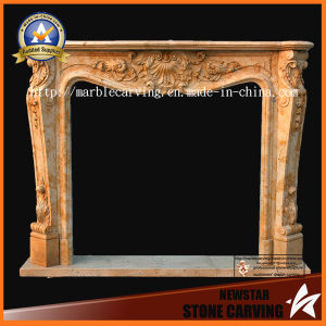 Golden Desert Nature Marble Fireplace Mantel 1.6 X 1.2m pictures & photos