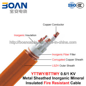 Bttwy/Yttwy, Fire Resistant Cable, 0.6/1 Kv, Multi-Core Inorganic Mineral Insulated Corrugated Copper/LSZH Sheathed Cable pictures & photos