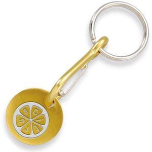 Custom Yellow Aluminium Trolley Coin Carabiner Keyrings pictures & photos