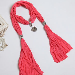 The New Woman Pure Color White Cotton Polyester Fiber Color Scarf Shawl pictures & photos