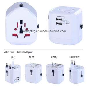 Universal Travel Charger with USA/UK/EU/Aus Plug, 2 USB Output 2500mA