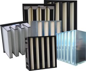 High Quality W-Type V Bank Large Filtration Area Mini Pleat HEPA Filter pictures & photos