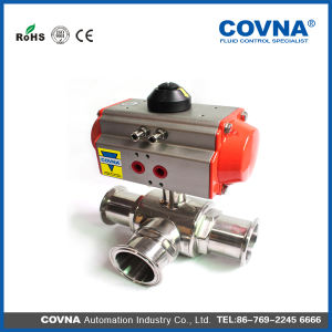 Stainless Steel Sanitary 3 Way Pneumatic Actuator Ball Valve Made in China pictures & photos