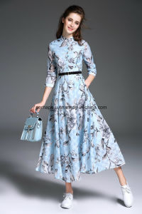Sweet Slim Printing Shivering A-Line Women Dress with Waistband pictures & photos