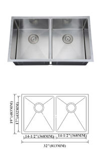Handmade Sink Double Sink 50/50, Customized Stainless Steel Sink Hmrd3219 pictures & photos