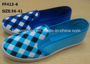 Latest Cheap Lady Injection Casual Shoes Flat Canvas Shoes (FF413-6) pictures & photos