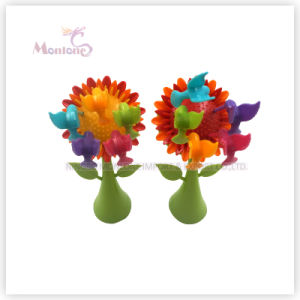 Wholesale Food Grade Plastic Bird Fruit Fork with Sunflower Base pictures & photos