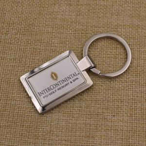 Customized Square Metal Keychain with Sticker Dome Logo pictures & photos