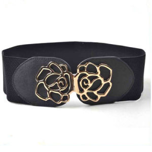 Rose Design New Ladies Elastic Wide Belt for Dress pictures & photos