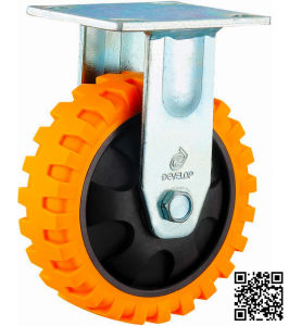 4/5/6/8 Inch Heavy Duty PU Rigid Castor Wheels with 6mm Bracket Tyer Veins Caster pictures & photos