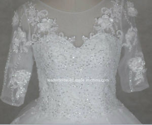 3/4 Sleeves Bridal Dresses Real Photos Tulle Lace Wedding Gowns Z2087 pictures & photos