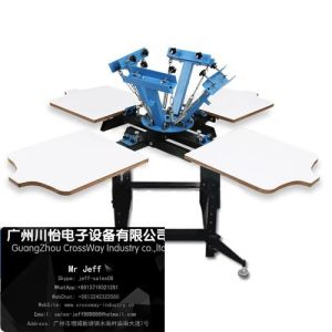 T Shirt Silk Screen Printer with Four Color Four Station Rotarying