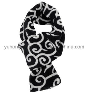 Promotion Winter Warm Knitting Printed Polar Fleece Lady Scarf pictures & photos