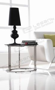 Small Low Round Glass Table with Stainless Steel pictures & photos