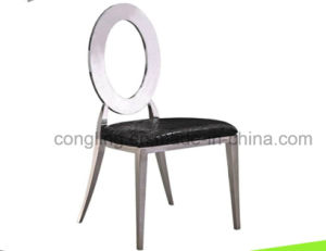 Oval Back Leather Stainless Steel Dining Chair for Home Furniture pictures & photos