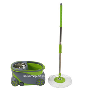 Hand Press Spin Mop with Steel Basket Bucket with Wheel (SL-S011)