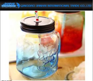 Custom Made Mason Jar with Handle and Straw pictures & photos