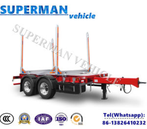 Two Axle Flatbed Drawbar Full Dolly Trailer with Pol pictures & photos