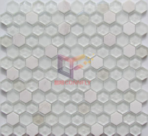 Marble with Super White Glass Crystal Mosaic Tile (CS253) pictures & photos
