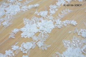White Rayon Floral Lace Wedding Factory Vl-60196-3dbcp pictures & photos