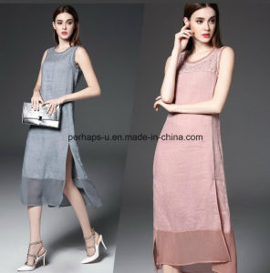 Sweet Pure Color Sleeveless Embroidered Women Slit Dress with Zippers pictures & photos