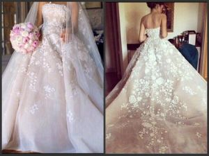 Strapless Bridal Ball Gowns Organza Flowers Custom Wedding Dress G1718 pictures & photos