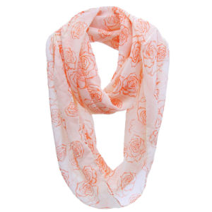 Girls Fashion Rose Printed Polyester Chiffon Infinity Spring Scarf (YKY1109) pictures & photos