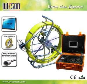 Witson Endoscope Pipe Inspection Camera with Push Rod Wheel 120m Fiberglass Cable pictures & photos