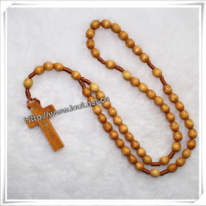 Wooden Beads Souvenir Decoration Knotted Wooden Rosary (IO-cr069) pictures & photos