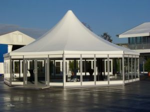 10m Diameter Morden Exhibtion Hexagonal Pagoda Tent with Glass Wall pictures & photos