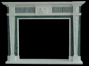 White and Green Marble Inlayed Fireplace pictures & photos